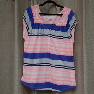 GAP Striped Loose Fit Short Sleeved Top